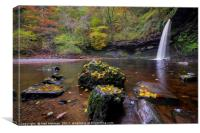 Autumn at Sgwd Gwladus Waterfall , Canvas Print