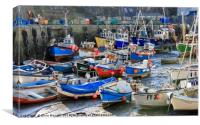 Mevagissey Harbour, Cornwall at  Low Tide, Canvas Print