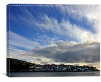 Big skies over Polruan, Fowey Estuary, Cornwall, Canvas Print