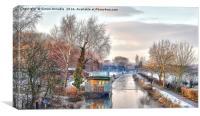 Winter Canal Scene, Canvas Print