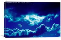 Blue clouds and moon, Canvas Print