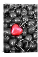 cherries and heart love, Canvas Print