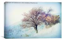 tree on mountain in the autumn mist, Canvas Print