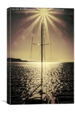 sail boat on lake, Canvas Print