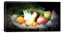 fruit and vegetables in the basket, Canvas Print