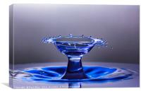Blue bowl shaped water drop collision, Canvas Print