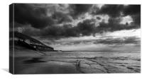 Sand, Sea and Clouds Monochrome, Canvas Print