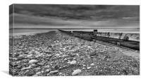 Rossall Beach Monochrome, Canvas Print
