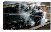 Steam train 78019 leaving Keighley Yorkshire, Canvas Print