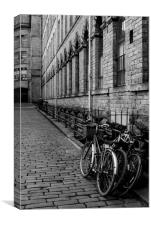 A black and white image of Salts Mill, Saltaire, Canvas Print