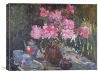 Flowers, Russian oil painting, Canvas Print