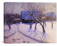 Russian farmhouse in the winter, Canvas Print