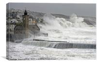 Porthleven Winter Storm, Canvas Print