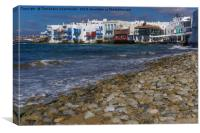 Mykonos Town, Greece Little Venice day view., Canvas Print