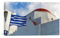 Mykonos, Greece Greek flag by whitewashed church., Canvas Print