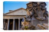 Rome, Italy Fountain of the Pantheon detail., Canvas Print
