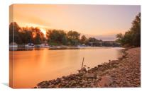 Sunset over the river Rhine, Canvas Print