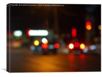 Defocused red and yellow lights on the night the t, Canvas Print