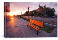European urban sidewalk, benches and lanterns in t, Canvas Print