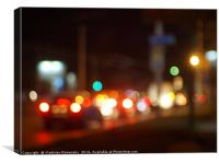Abstract blur image of a night scene with bright l, Canvas Print