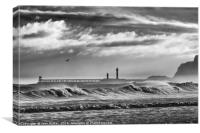 Storm breakers at Sandsend and Whitby, Canvas Print