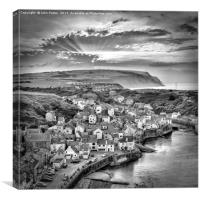 Staithes Mono Sunset, Canvas Print