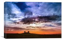 Colourful cloudy sky sunset behind a small hill, Canvas Print