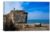 Fisherman casting a rod on the coast cliff rock, Canvas Print
