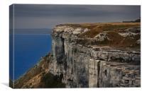 Climbing a coast cliff foggy weather aerial view, Canvas Print