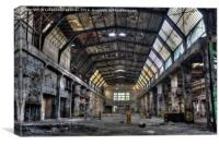 Creepy abandoned old factory hall in HDR style, Canvas Print
