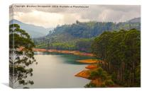 Tropical forest, lake and cloudy sky, Canvas Print