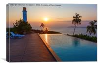 Sunset over pool, sea and lighthouse, Canvas Print