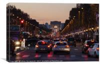 Traffic jam on Champs Elysees, Arc de Triomphe, Canvas Print