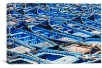 Blue old fishing boats in harbour, Canvas Print