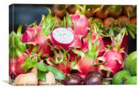 Pitaya fruit on vegetable market, Canvas Print