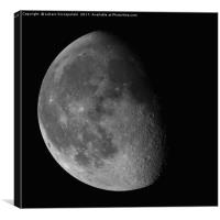 Waning Gibbous Moon isolated on black background, Canvas Print