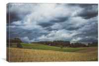 Stormy cloudscape over fields and pasture , Canvas Print