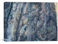 Aerial view of open-cast coal mine, Canvas Print