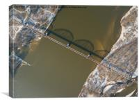 Aerial view of the railway bridge over the river, Canvas Print