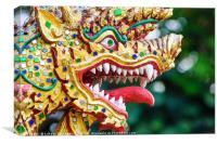 Colorful dragon head sculpture, Canvas Print