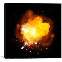 Hot fiery bomb explosion, Canvas Print