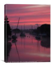Sunrise on the River Frome at Wareham, Dorset, Canvas Print