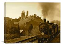 Steam Train at Corfe Castle, Dorset, Canvas Print