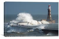 Stormy Waters at Roker Lighthouse, Canvas Print