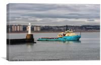 Oil Supply boat leaving Aberdeen Harbour, Canvas Print