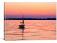 Orange and purple sunset over Poole Harbour, Canvas Print