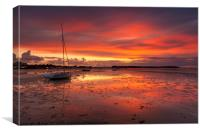 Sunset coastal scene of Poole Harbour, Canvas Print