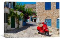 Multi-coloured buildings of Halki Island (Chalki), Canvas Print