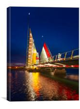 Twin Sails lifting bridge and reflections, Poole H, Canvas Print