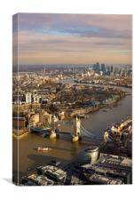 London skyline aerial view in early evening, Canvas Print